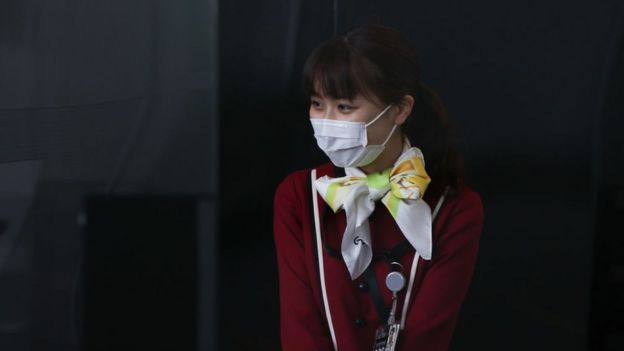 Mujer Japonesa con tapabocas