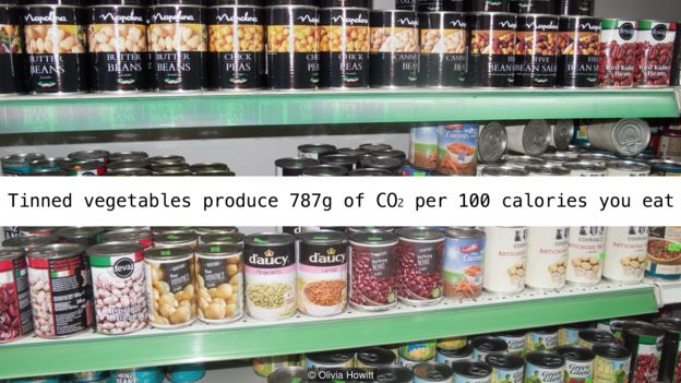 Rau củ đóng hộp sản sinh 787g CO2 mỗi 100 calories chúng ta ăn