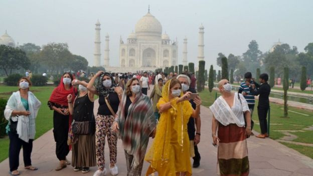 India's Taj Mahal with a lot of air pollution