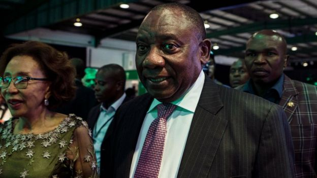 Cyril Ramaphosa arrives for a presidential Gala dinner at the Nasrec Expo Centre in Johannesburg on December 15, 2017