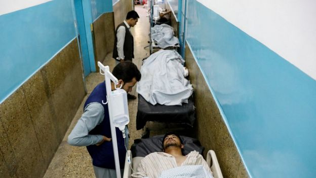 Injured men receive treatment in hospital