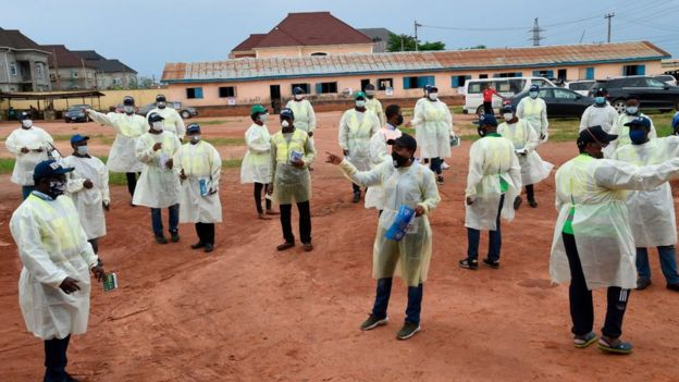 A meeting in Lagos State to plan for tackling coronavirus