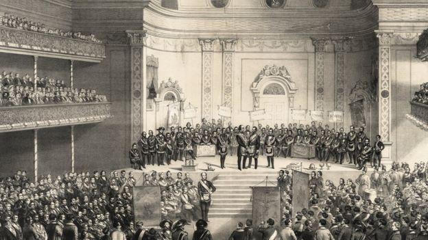 Ilustração de reunião maçônica em 1851