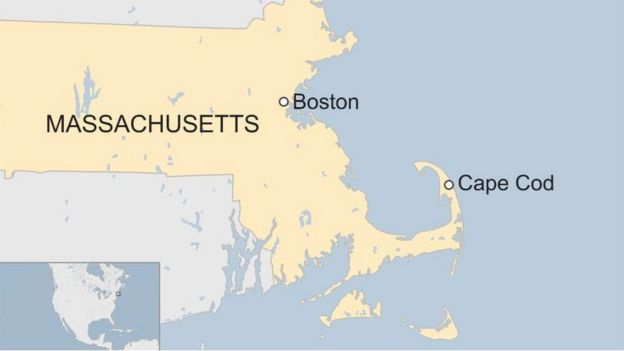 Map showing Massachusetts, with Boston and Cape Cod labelled