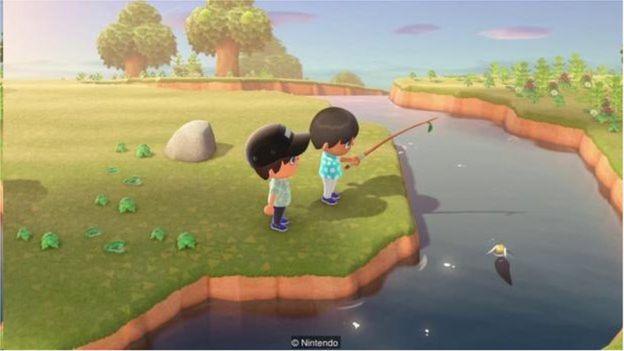 电子游戏《动物森友会》(Animal Crossing)配乐轻柔,还有海浪拍打海岸的水声。