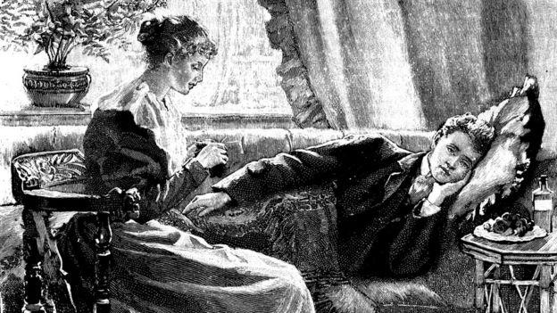 Ilustración de un hombre enfermo.