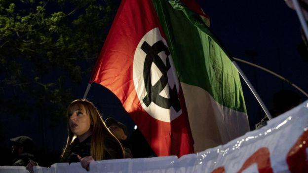 Forza Nuova'nın protesto gösterisinden bir kare
