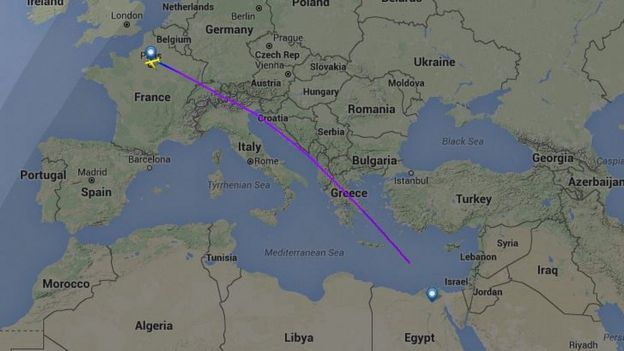 A map showing the path of the flight before it disappeared, on Flightradar24