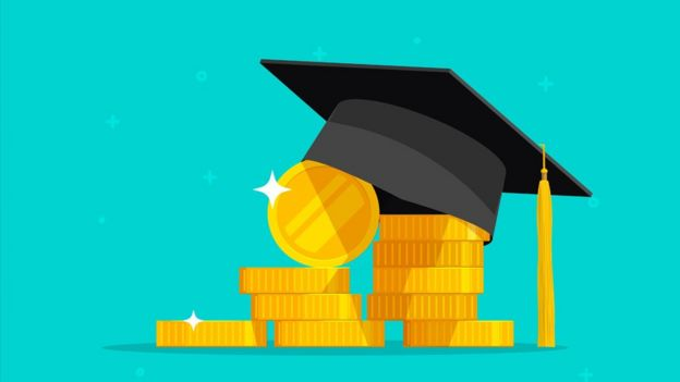 A graphic of a mortarboard on money