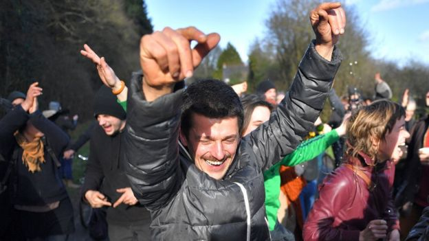 Activists celebrate after the French government announced plans of an airport in Notre-Dame-des-Landes