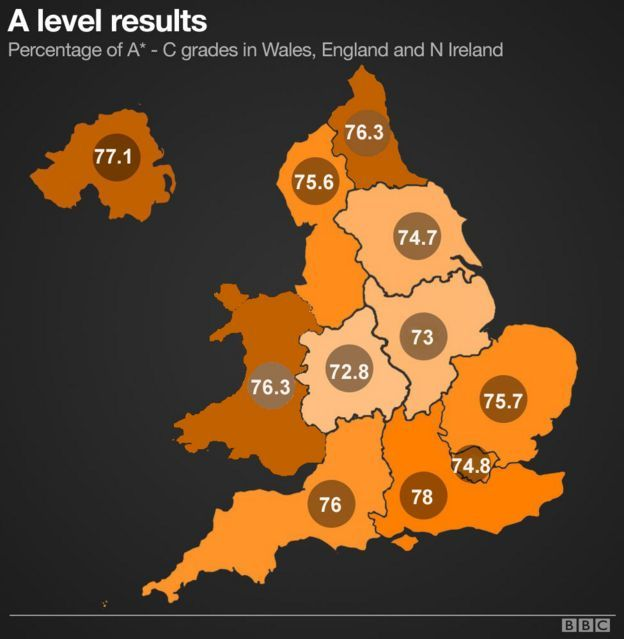 Map showing A-level results in England, Wales and Northern Ireland