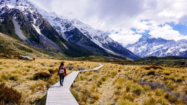 Mujer caminando por el prado dorado en el sendero Hooker Valley, el parque nacional Mount Cook, Nueva Zelanda