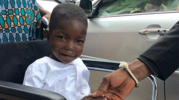 Image result for Chibok boy ran over by Boko Haram returns to Nigeria after surgery (Photos)