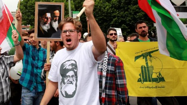 Hezbollah flags have often been waved at the annual al-Quds rally in Berlin - file pic 2015