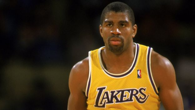 Magic Johnson, en un partido con los Lakers.