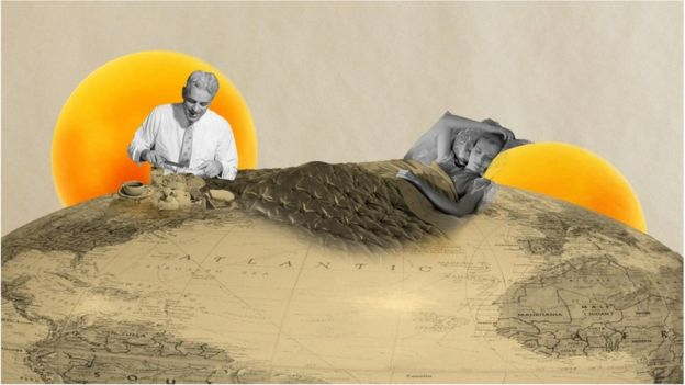 Una ilustración de una mujer en una cama de tierra