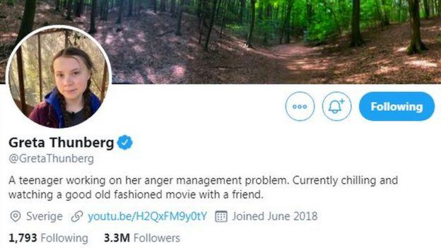 Greta Thunberg's Twitter bio on 12 December