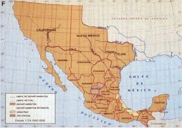 México poseía casi cuatro millones de kilómetros cuadrados, entre provincias y territorios, tras su independencia en 1821.