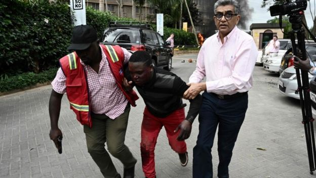Scene of attack on Nairobi hotel