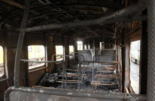 The inside of a burnt-out carriage