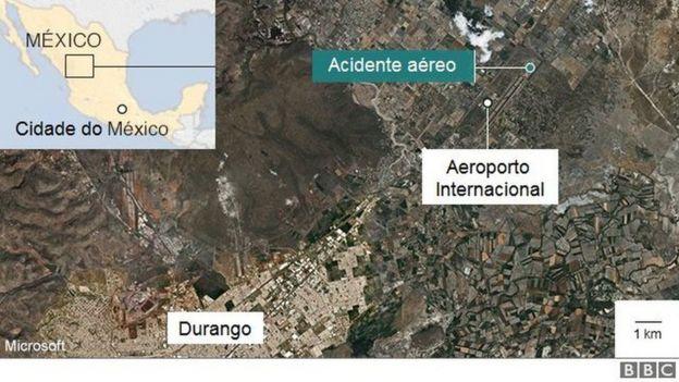 Gráfico de acidente aéreo em Durango, no México