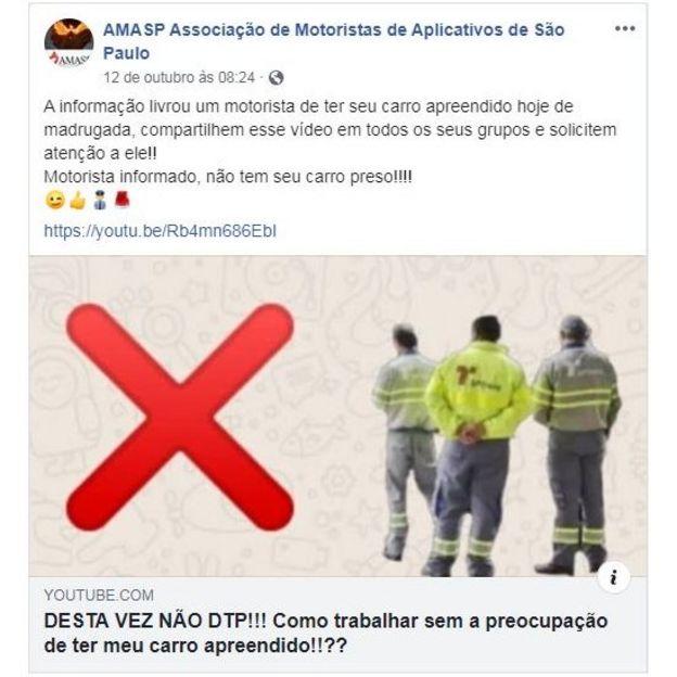 Post da Amasp no Facebook