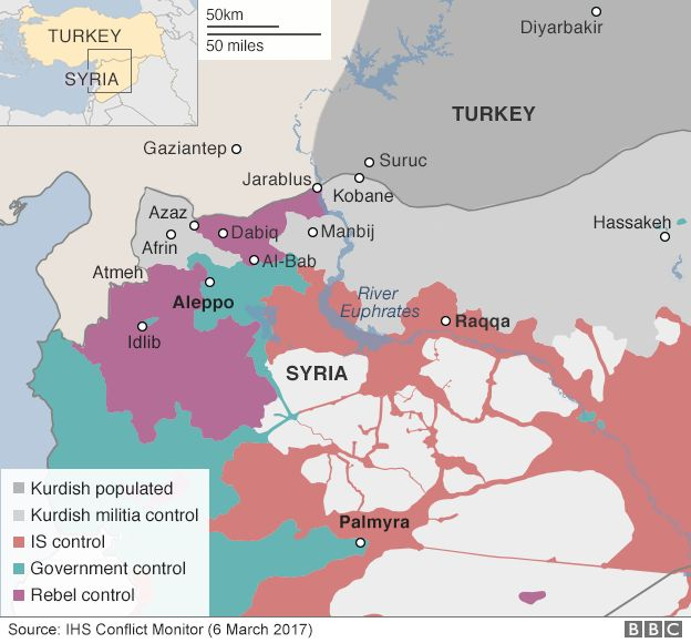 Map Showing Control Of Northern Syria 6 March 2017