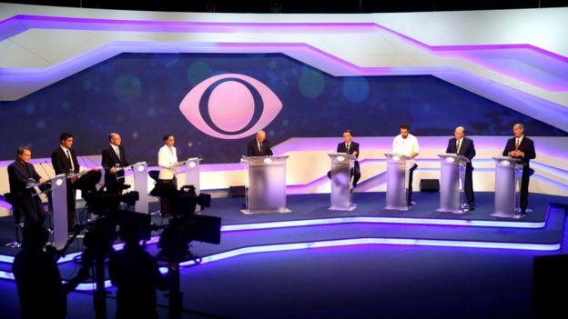 Candidatos a presidente no estúdio da Band, para participar do primeiro debate das eleições presidenciais de 2018.