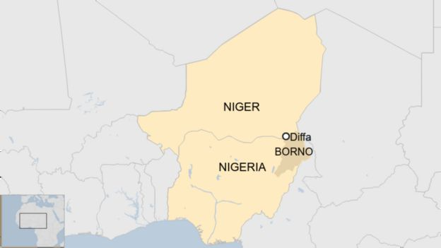 Map showing Diffa in Niger, and Nigeria's Borno state