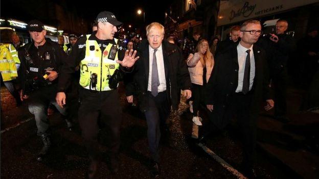 Boris Johnson visiting Matlock on 8 November