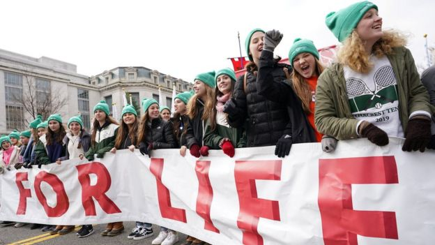 Anti-abortion marchers rally at the Supreme Court during the 47th annual March for Life in Washington