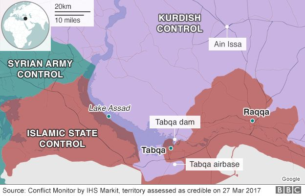 Map showing control of northern Syrian city of Raqqa (27 March 2017)
