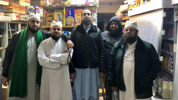 Haleem in white, Mohammed in the hoodie, and friends