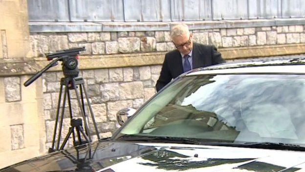 Jonathan Thomson-Glover arriving at Taunton Crown Court
