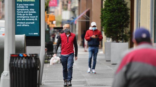 New York City residents wear masks amid virus outbreak