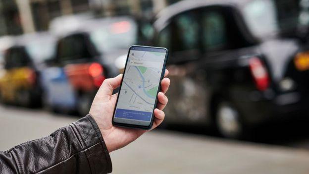 Aplicación de Uber en el teléfono