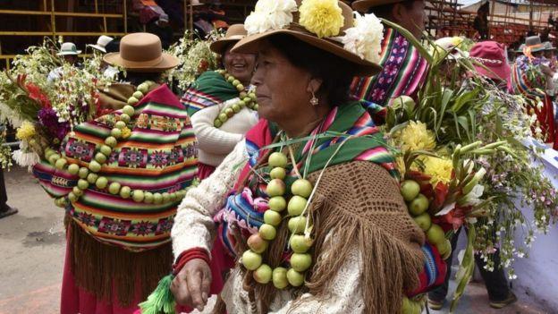 Festival indígena en Bolivia.