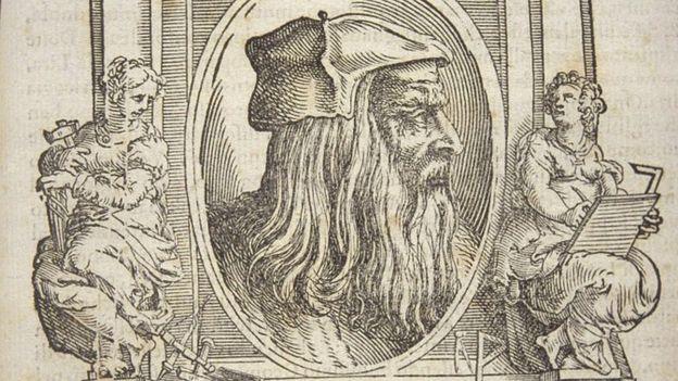 """Leonardo Da Vinci retratado en el libro de Giorgio Vasari """"La vida de los pintores italianos más excelentes""""."""