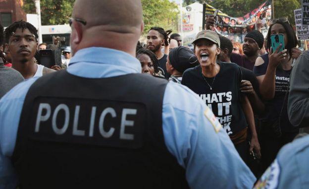 Manifestantes en Chicago.