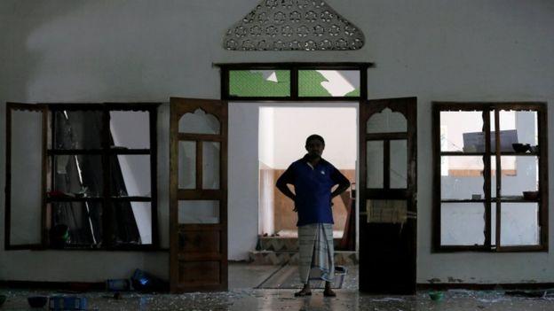 A Muslim man at the Al-Masjidul Hudha mosque