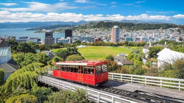 Una vista de Wellington, Nueva Zelanda