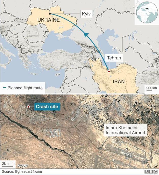 Bản đồ đường đi và khu vực máy bay bị nạn