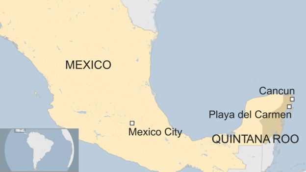 Cancun Quintana Roo Mexico Map.Mexico Violence Four Killed In Cancun Gunfight Bbc News