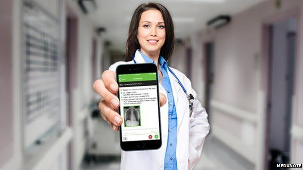 Woman doctor hold smartphone