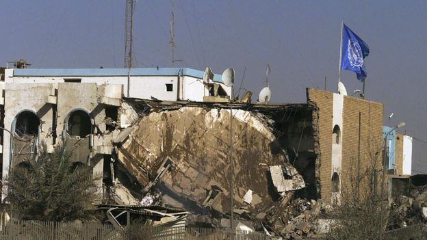 The aftermath of the bombing of the UN headquarters in Baghdad in August 2003