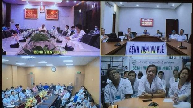 Doctors from hospitals across Vietnam discussing Patient 91's condition
