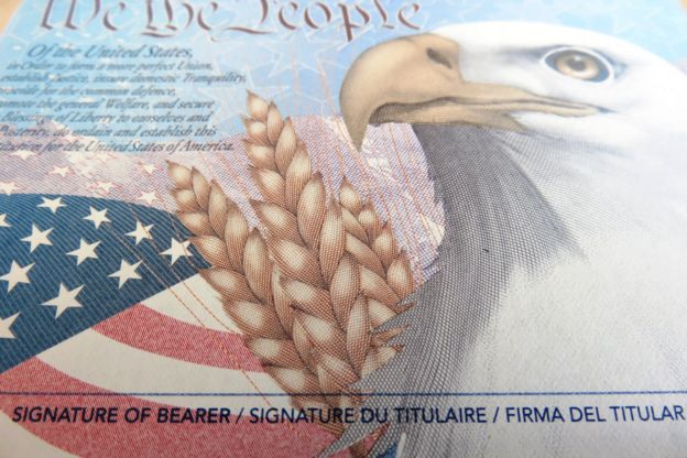 Página interior de pasaporte de EE.UU.