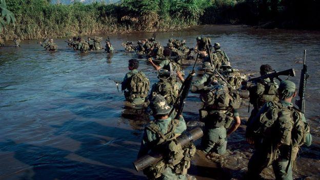 El batallón de reacción rápida Atlacatl de El Salvador fue entrenado por tropas estadounidenses.