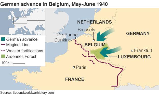 Map of German advance in Belgium