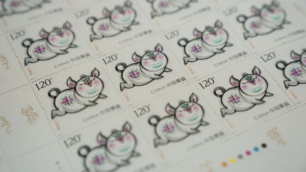 Close-up of some of the Year of the Pig stamps